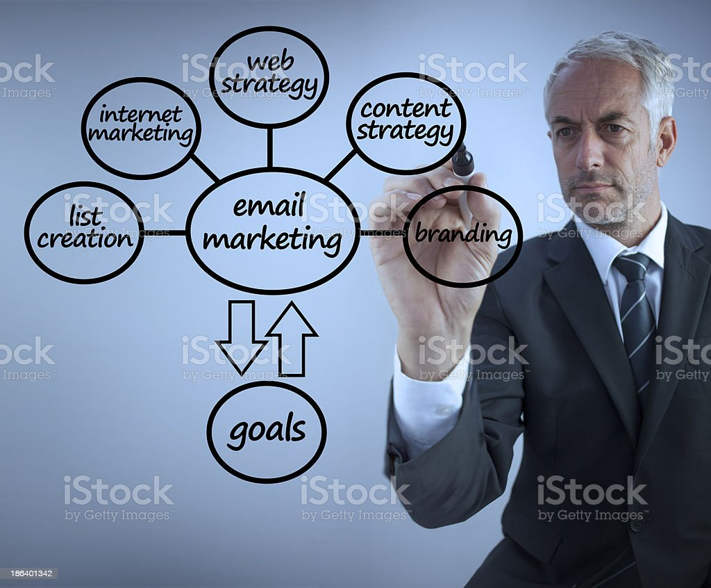 Businessman drawing a blueprint royalty-free stock photo
