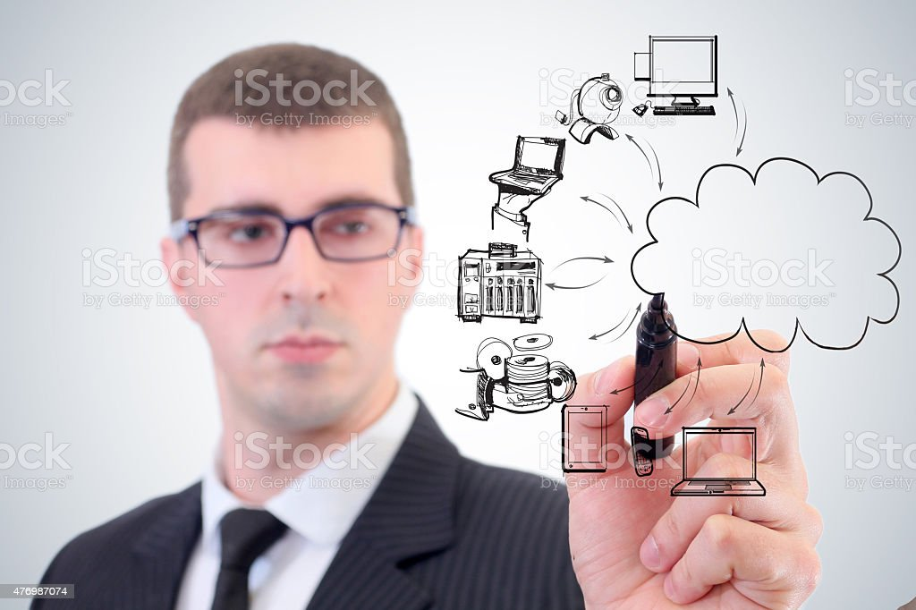 Businessman drawing a cloud with a black marker stock photo