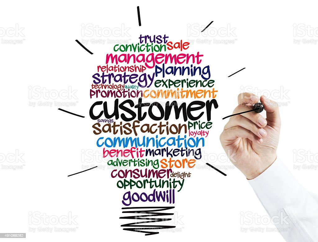 Businessman Drawing a Customer Idea Bulb stock photo
