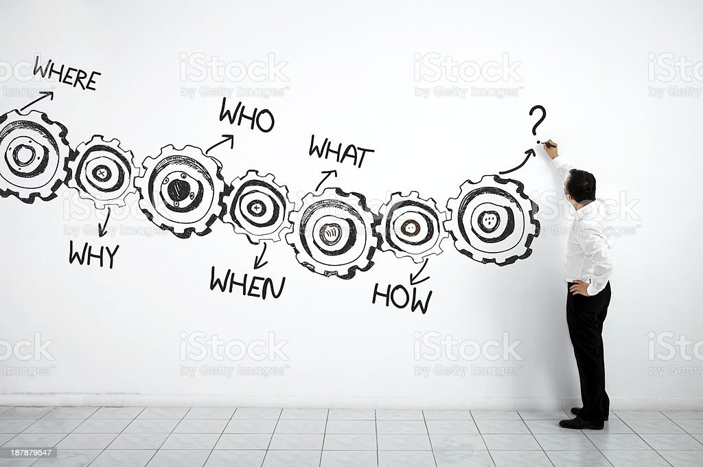 Businessman Drawing A Diagram On A White Wall stock photo