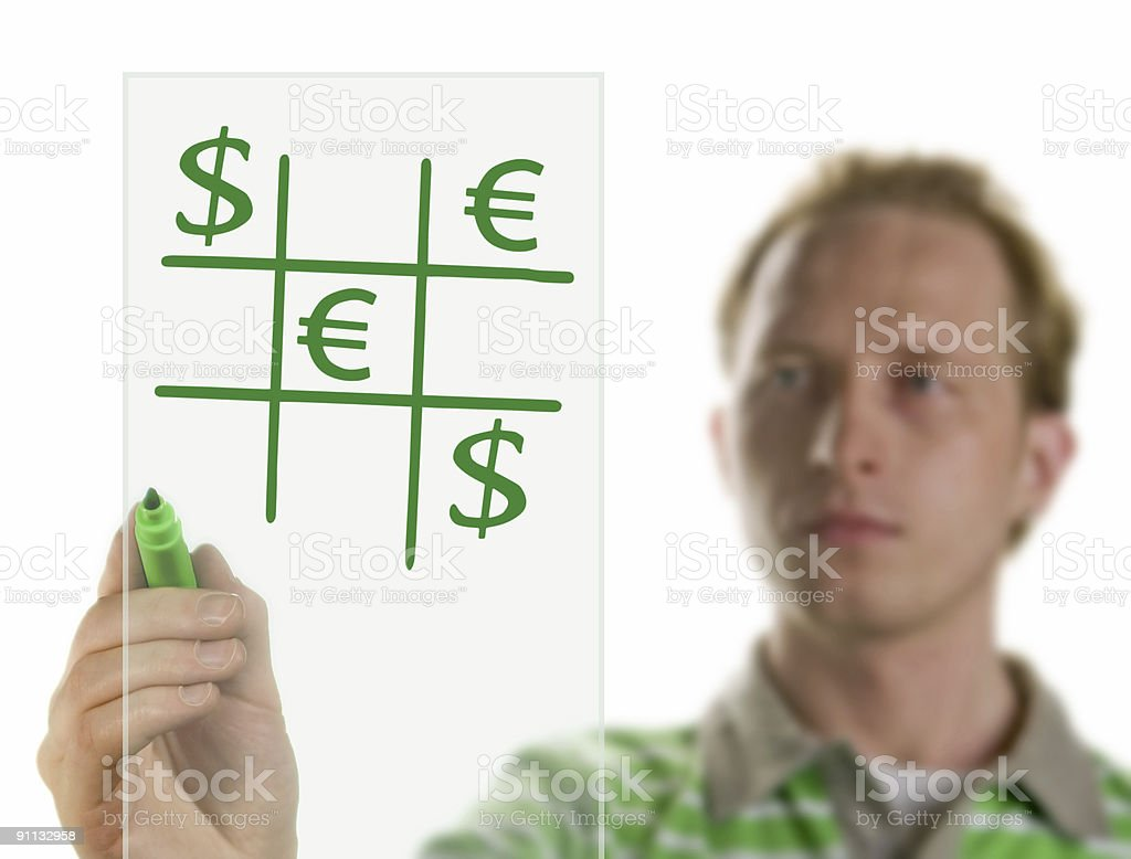 Businessman drawing a graph royalty-free stock photo