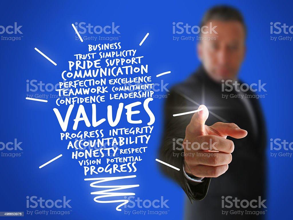 Businessman Drawing a Values Idea Bulb stock photo