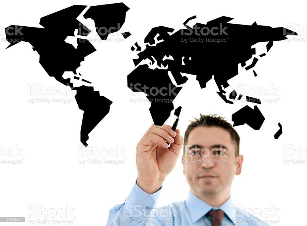 businessman drawing a world map stock photo