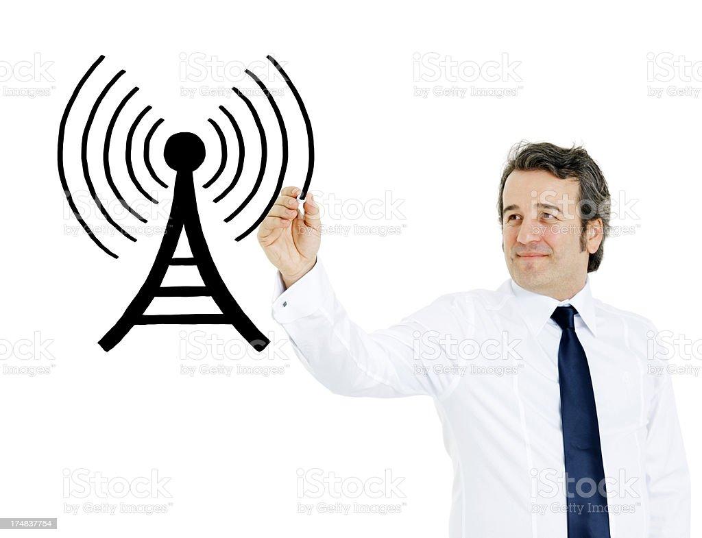 Businessman Drawing antenna royalty-free stock photo