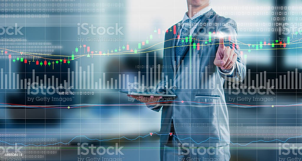 businessman drawing chart, stock marketing concept stock photo
