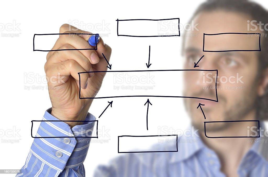Businessman drawing empty diagram stock photo