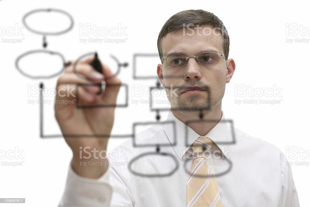 businessman drawing empty flowchart royalty-free stock photo