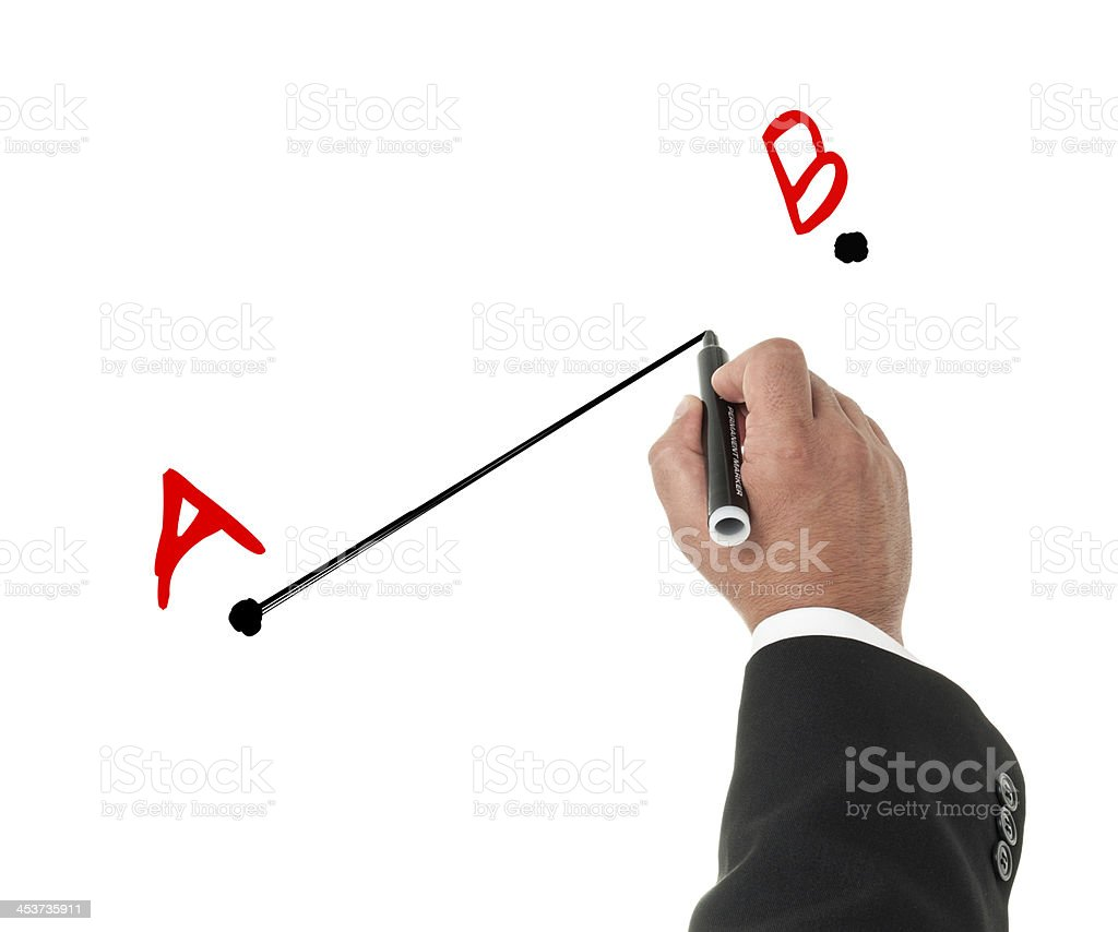 Businessman drawing from a to b concept stock photo