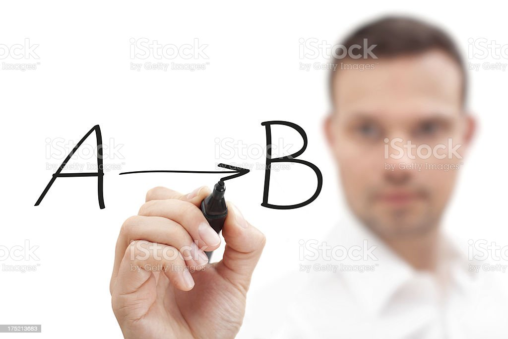 Businessman drawing from A to B royalty-free stock photo