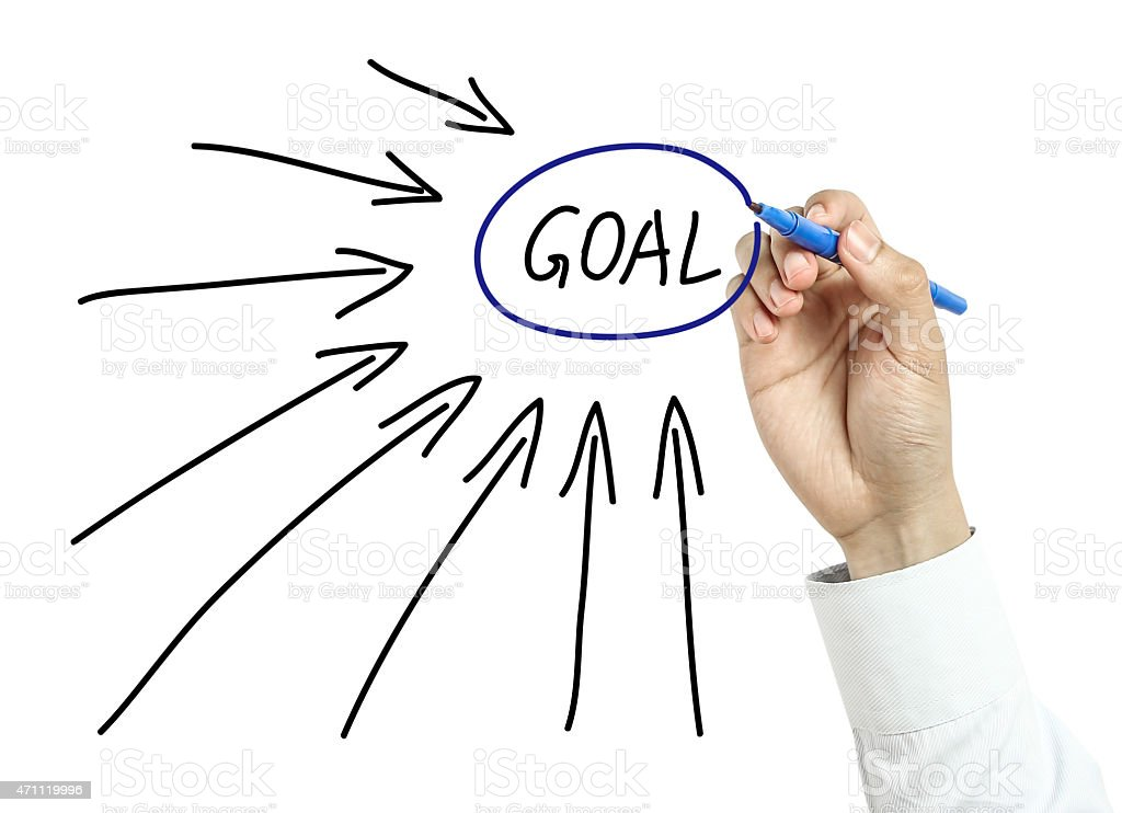 Businessman drawing goals concept stock photo