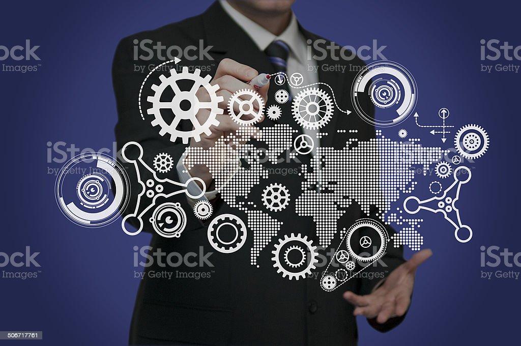 Businessman drawing stock photo