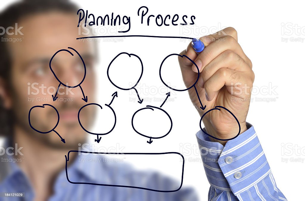Businessman drawing planning process royalty-free stock photo