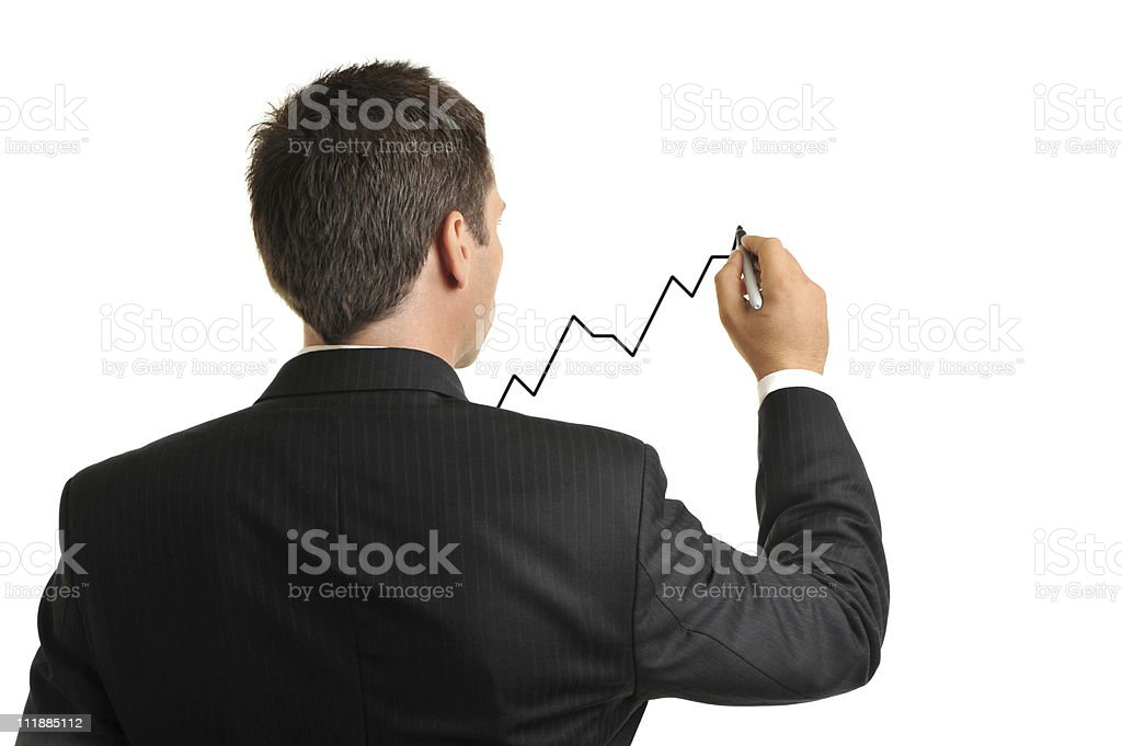 Businessman Drawing Rising Chart Isolated on White Background royalty-free stock photo