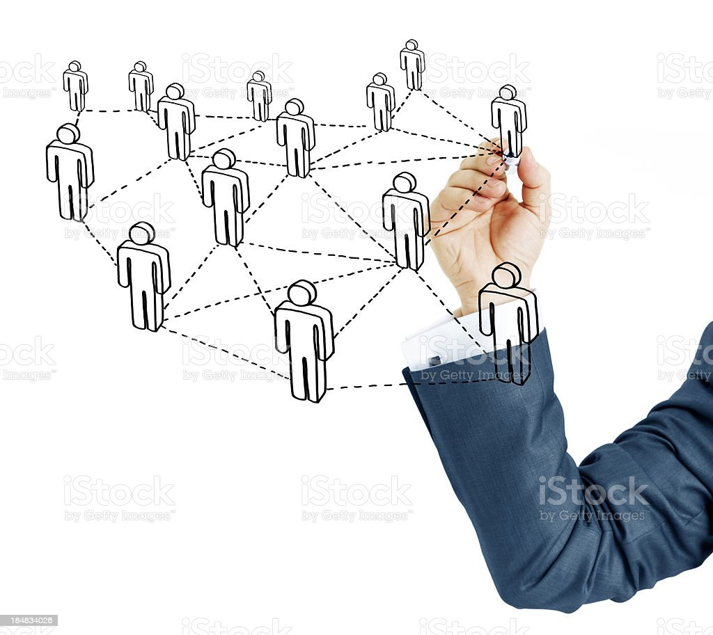 Businessman drawing social network (Felt Tip Pen) royalty-free stock photo