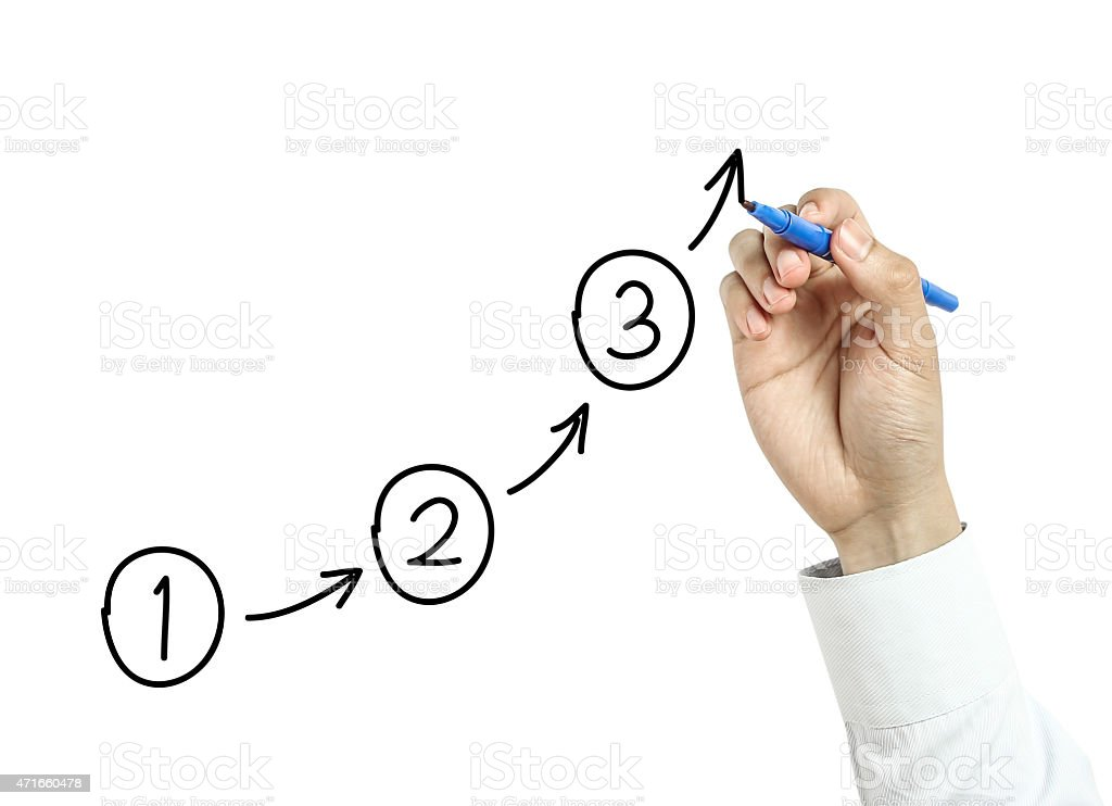 Businessman drawing steps concept stock photo