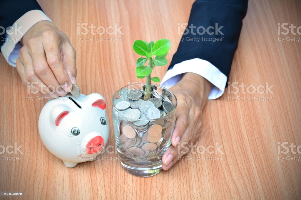 Businessman drop coin into the piggy bank and coins. finance stock photo