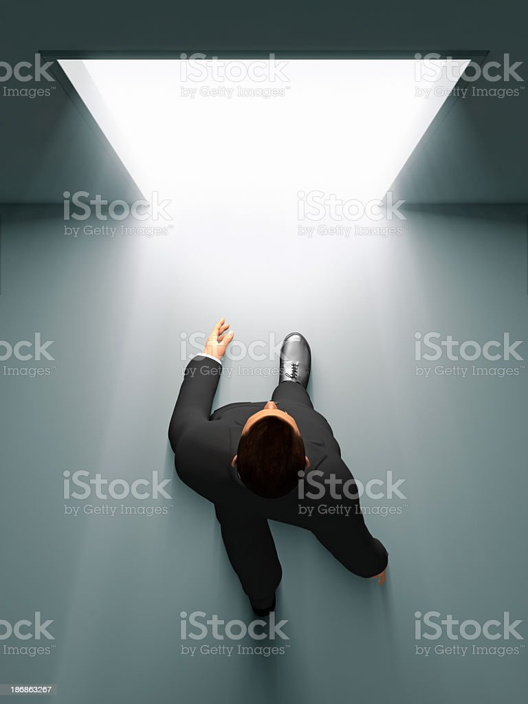 Businessman Entering The Door stock photo