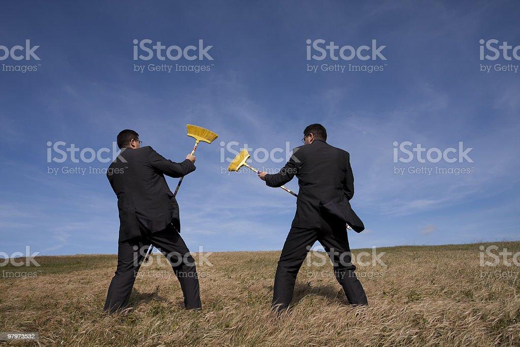 Businessman enviroment fight stock photo