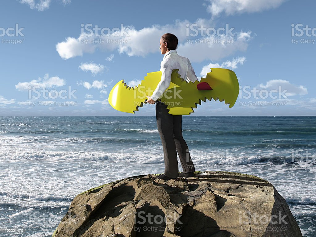 businessman escaped from shark attacks royalty-free stock photo