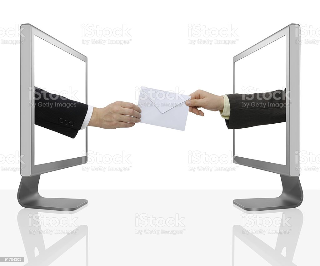 Businessman exchanging mail through desktop computers royalty-free stock photo
