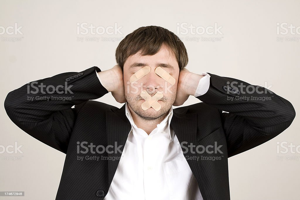Businessman excluding all senses royalty-free stock photo
