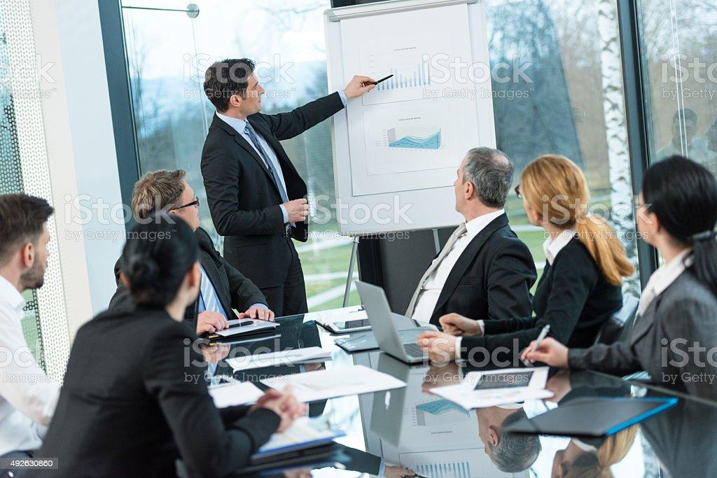 Businessman explaining graph chart stock photo