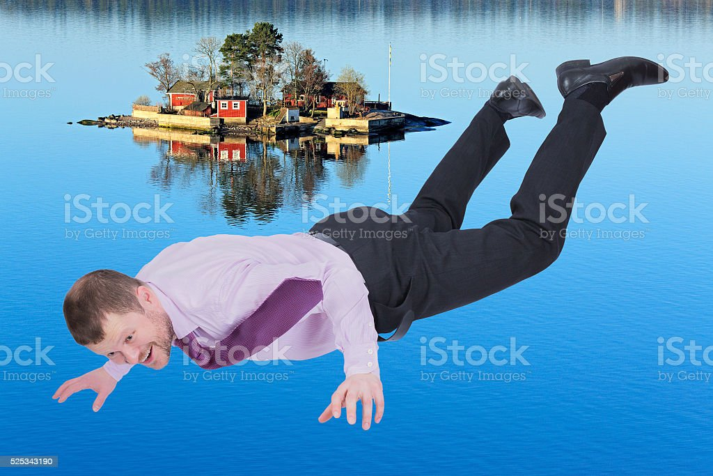 Businessman falling down stock photo