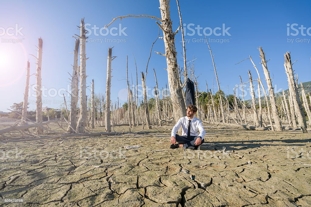 Businessman ,fashion model resting  on cracked earth stock photo