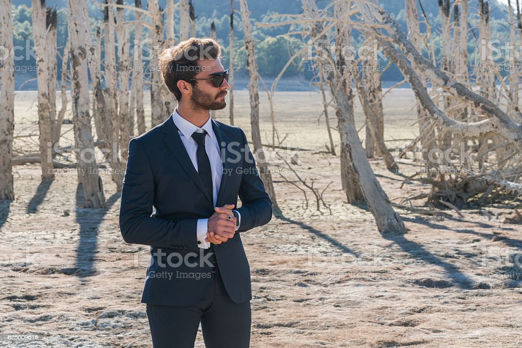 Businessman ,fashion model standing on cracked earth stock photo