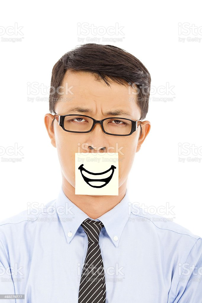 businessman feel helpless and smile expression on sticker stock photo