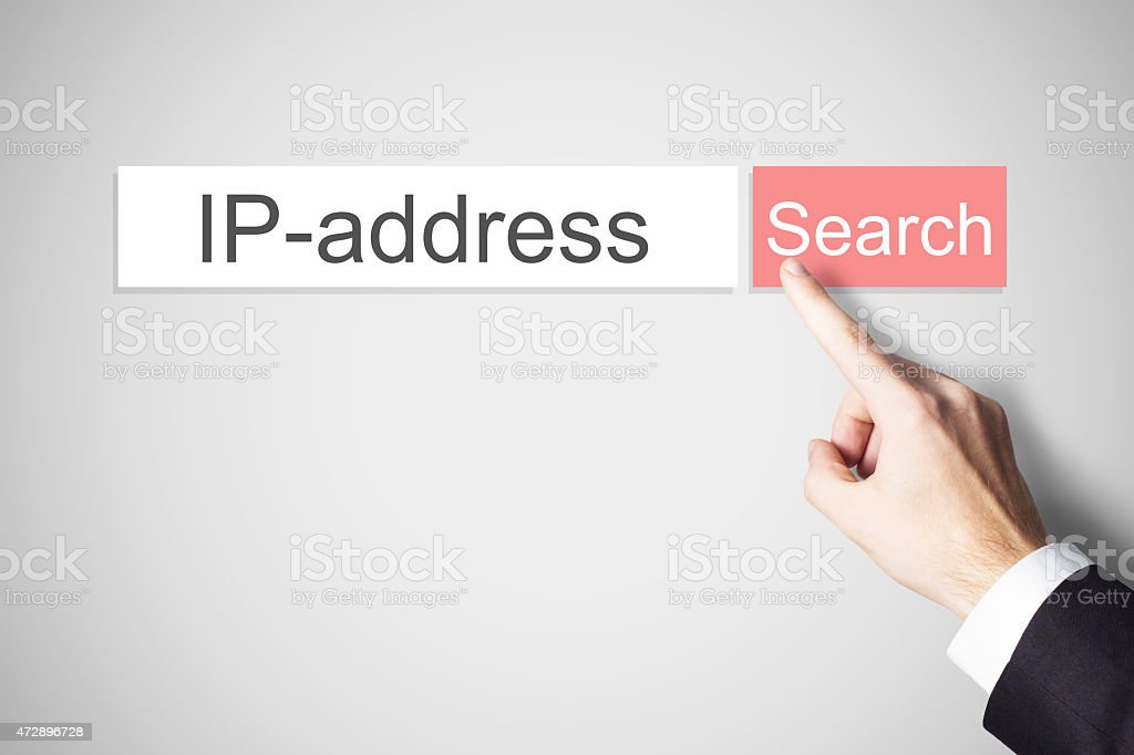businessman finger pressing search button ip address stock photo