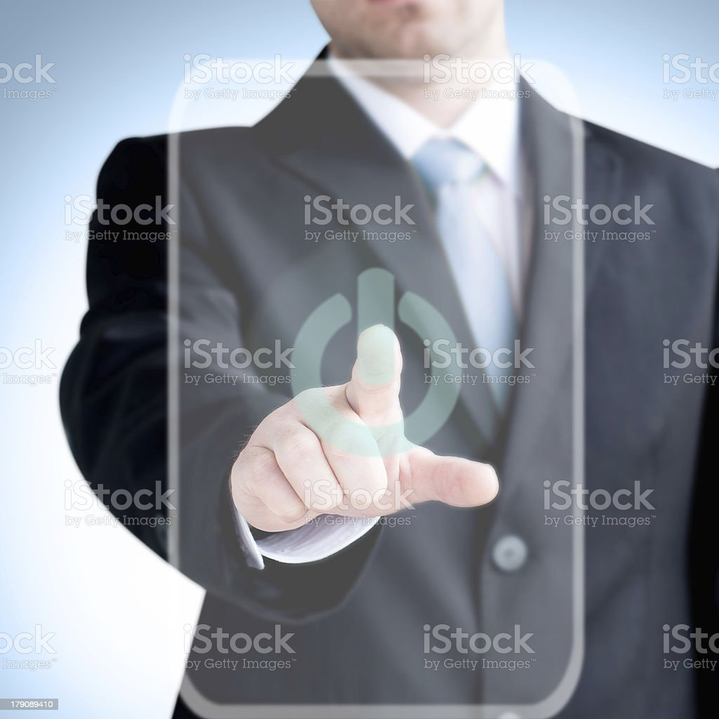 Businessman  finger touches virtual buttons stock photo