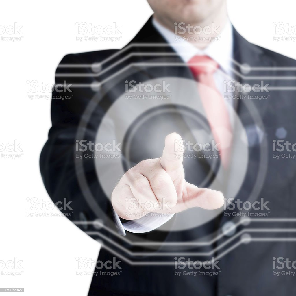 Businessman  finger touches virtual buttons royalty-free stock photo