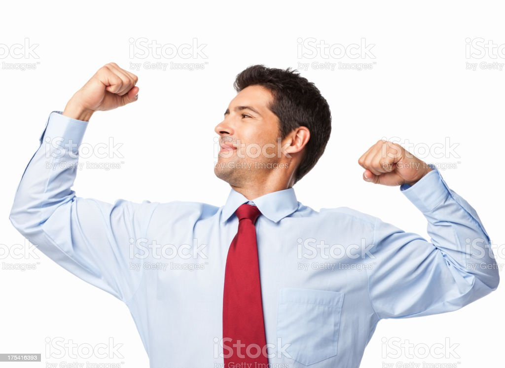 Businessman Flexing His Muscles - Isolated royalty-free stock photo