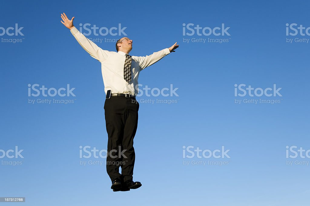 Businessman Flying Away royalty-free stock photo