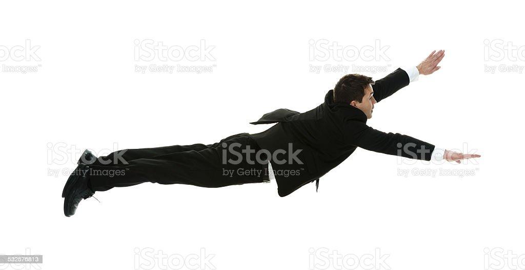 Businessman flying stock photo