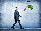 Businessman Follows Carrots Dangling From A Stick