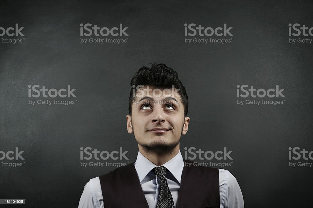 Businessman Front of Blackboard stock photo