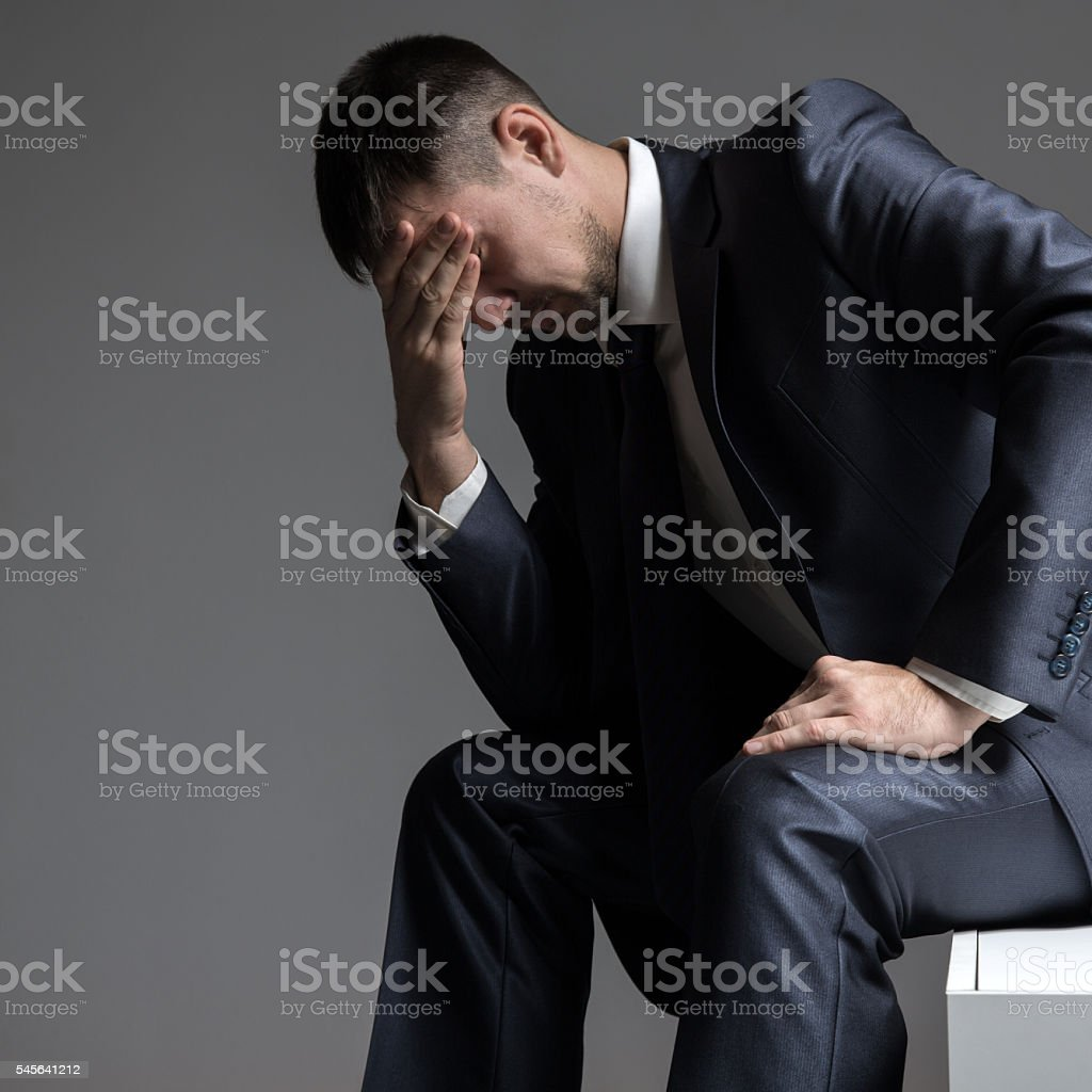 Businessman frustrated. Sign face palm. stock photo