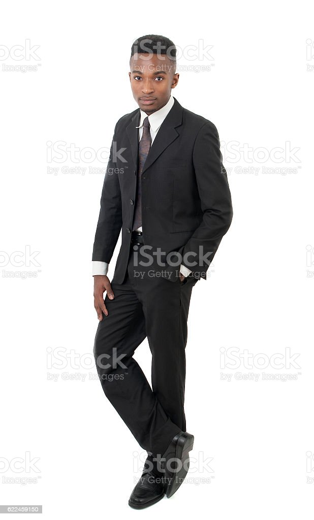businessman full vertical view on white background stock photo