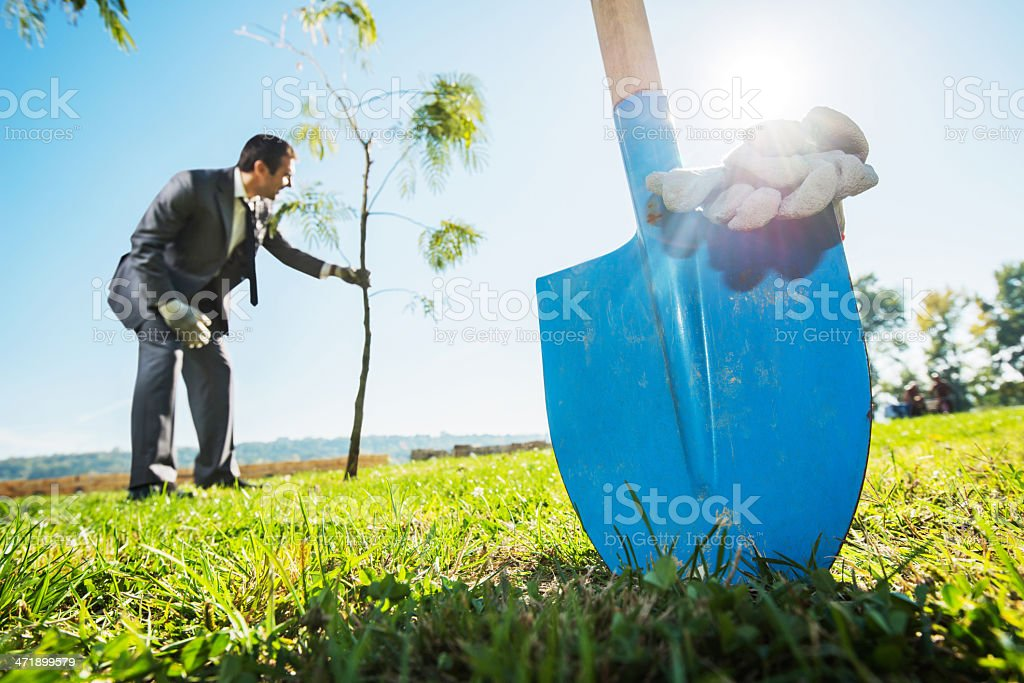 Businessman gardening. stock photo