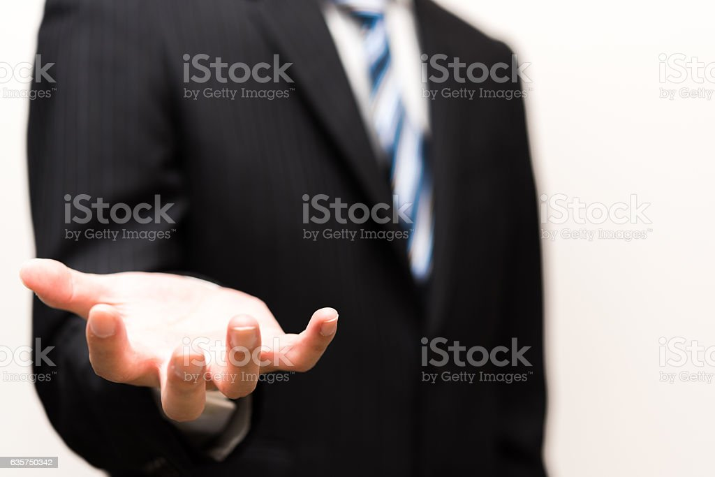Businessman gesture with his hand stock photo