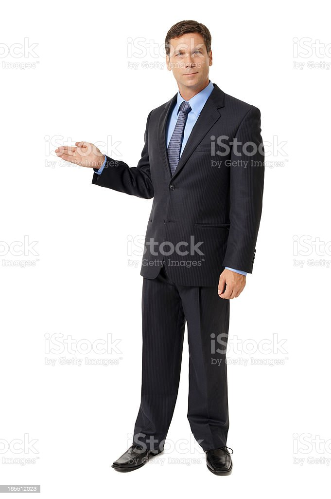 Businessman Gesturing Demonstrating on White stock photo