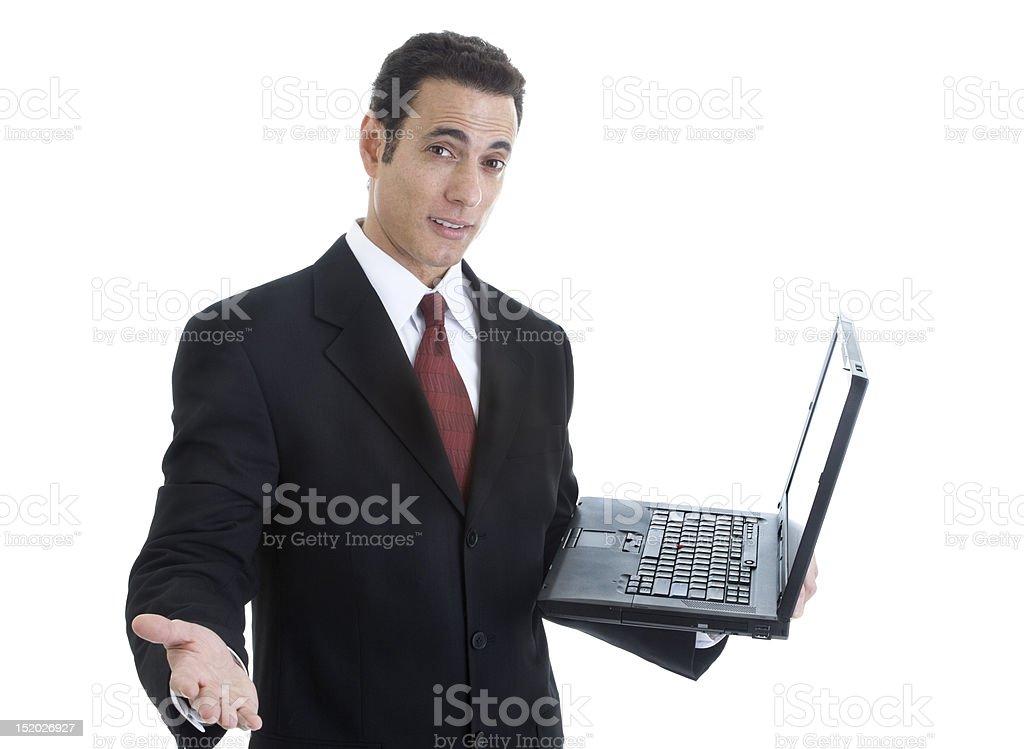 Businessman Gesturing, Holding Laptop Isolated on White Background royalty-free stock photo