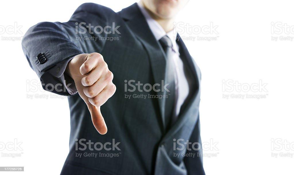 Homme d'affaires gestes Pouce vers le bas photo libre de droits