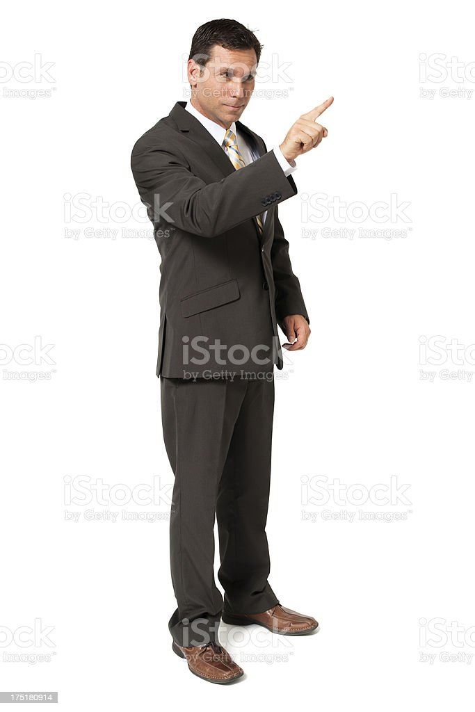 Businessman Gesturing Touching on White stock photo