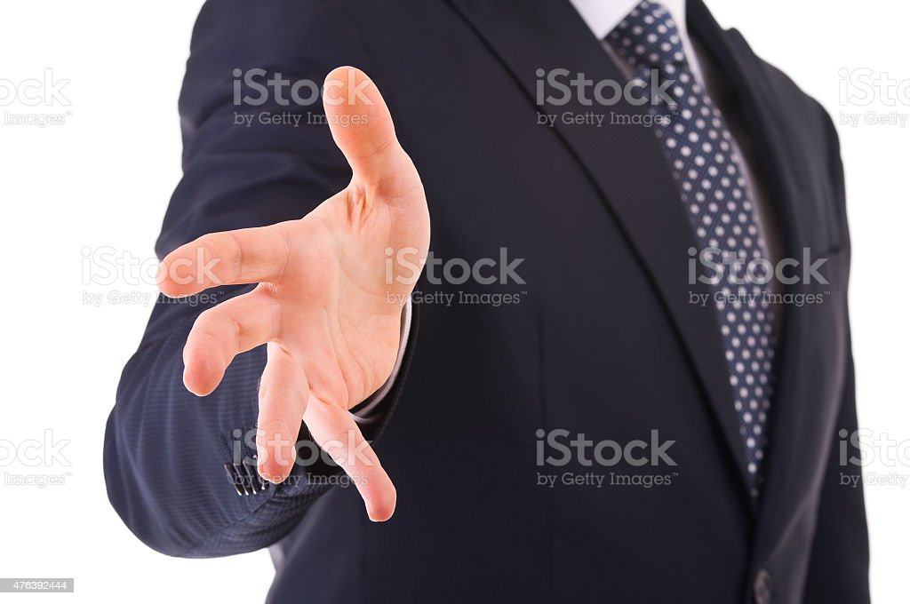 Businessman gesturing with hand. stock photo