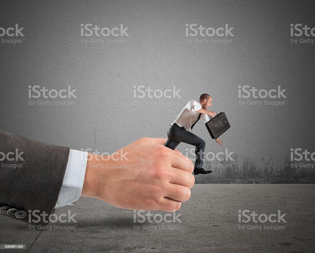Businessman get away stock photo