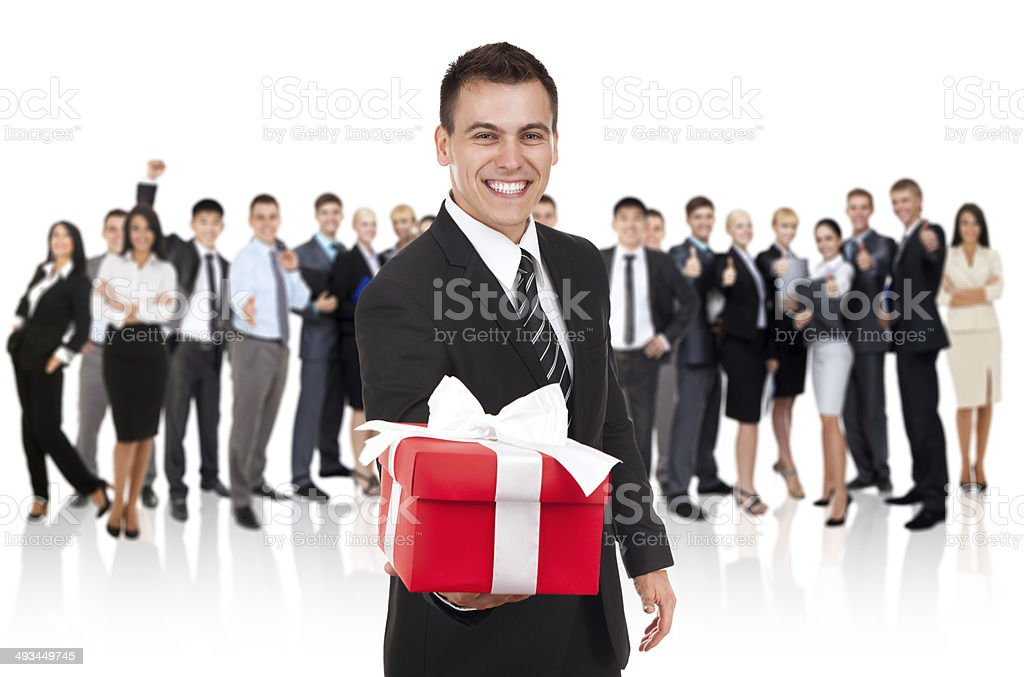 businessman gift box, group of people stock photo