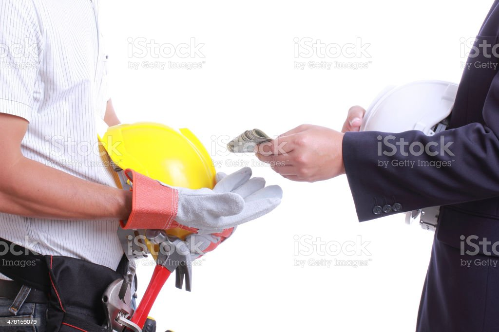 Businessman give money for corruption something stock photo